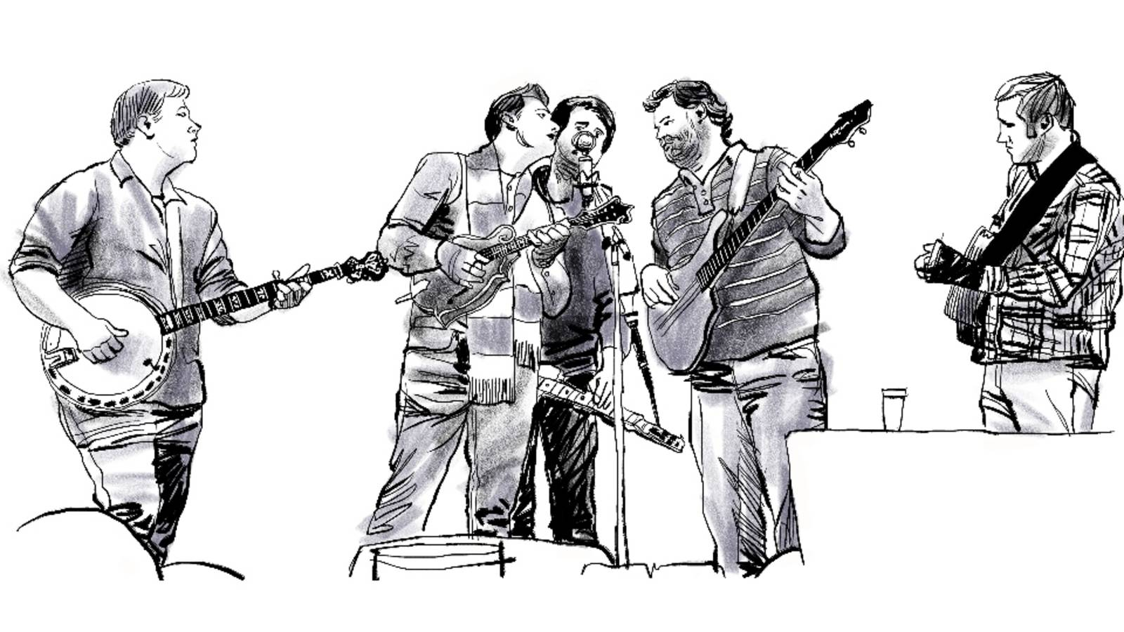 <p>Gatlinburg provides a noisy and bustling contrast to the peace and quiet of the park. But sometimes the noise is pleasant indeed. Here, the bluegrass band Monroeville plays an outdoor concert.</p>
