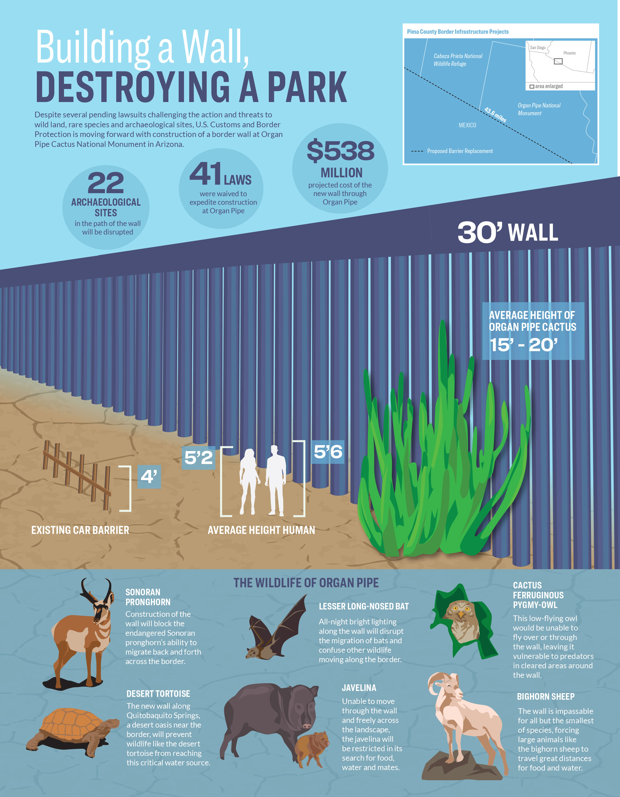 Infographic: Building a wall, destroying a park