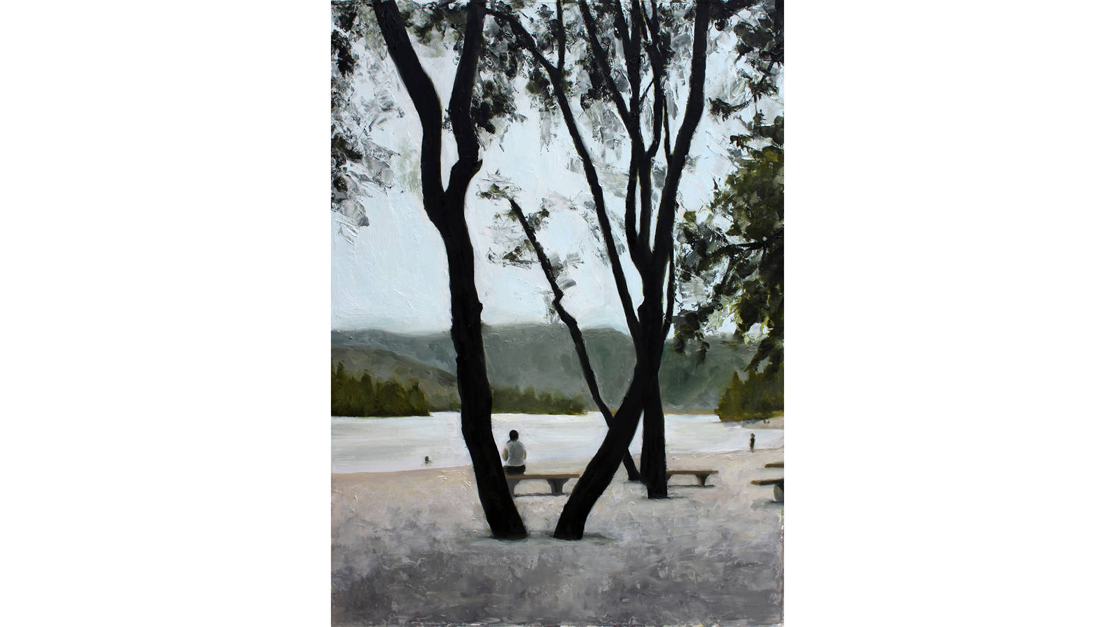 """<h3 style=""""text-align: center; padding: 50px;""""><span class=""""text-Intro-style"""">Whiskeytown Lake at Whiskeytown National Recreation Area in California. Oil on paper, 2017.</span></h3>"""