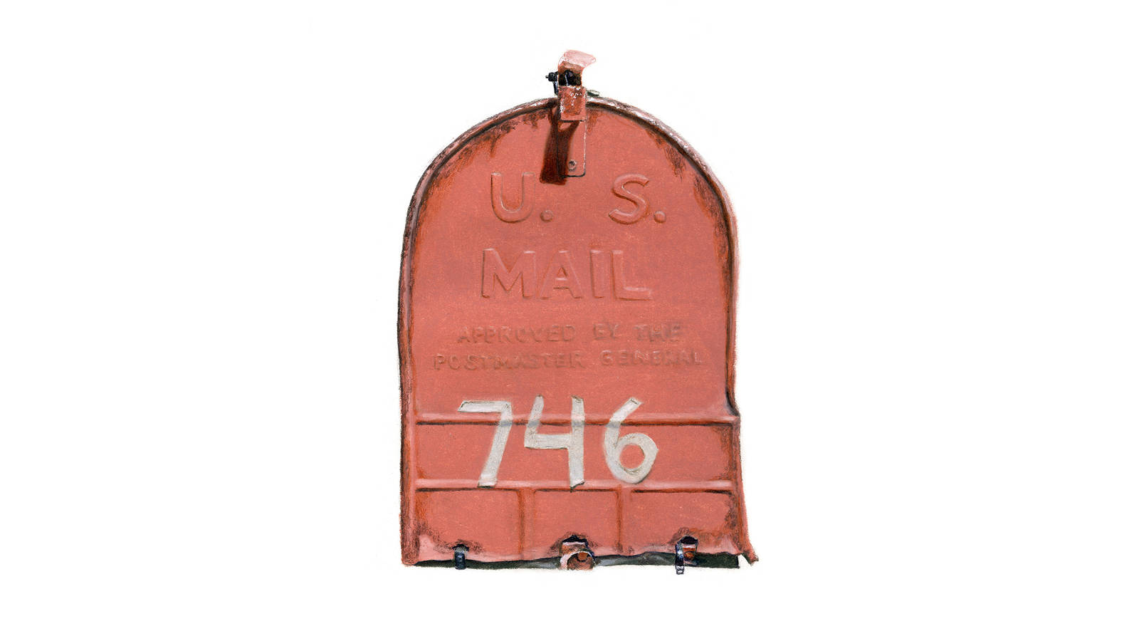 """<h3 style=""""text-align: center; padding: 50px;""""><span class=""""text-Intro-style"""">A mailbox outside the 19th-century caretaker's house Heckel stayed in during her residency at Weir Farm National Historic Site in Connecticut. Colored pencil on paper, 2016.</span></h3>"""