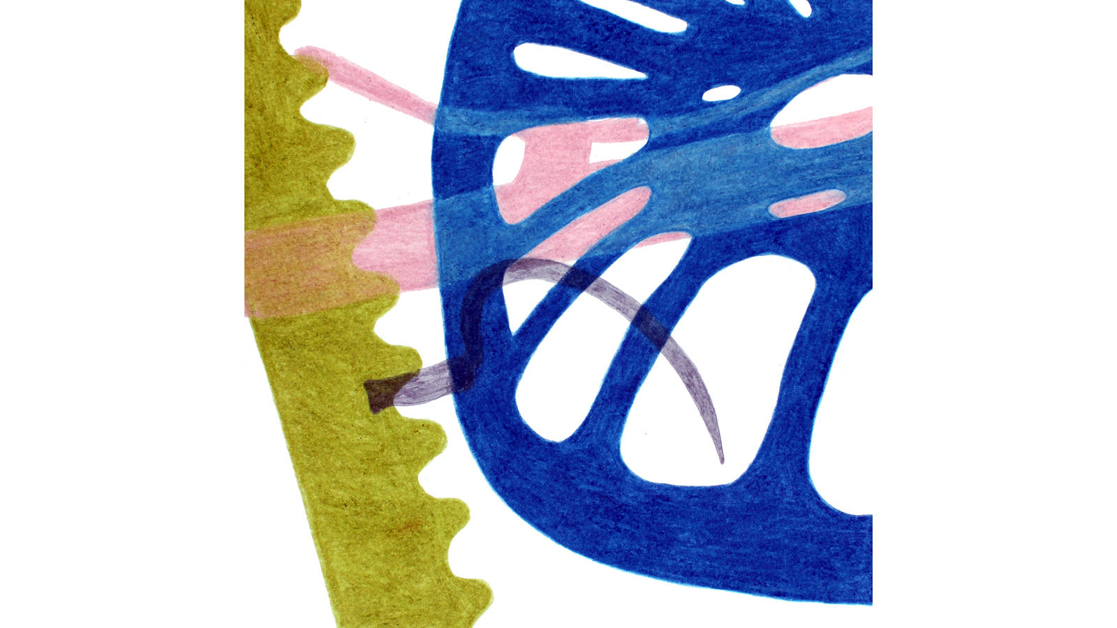 """<h3 style=""""text-align: center; padding: 50px;""""><span class=""""text-Intro-style"""">An abstract depiction of farm equipment, including a scythe, at Homestead National Monument of America. Colored pencil and graphite on paper, 2019.</span></h3>"""