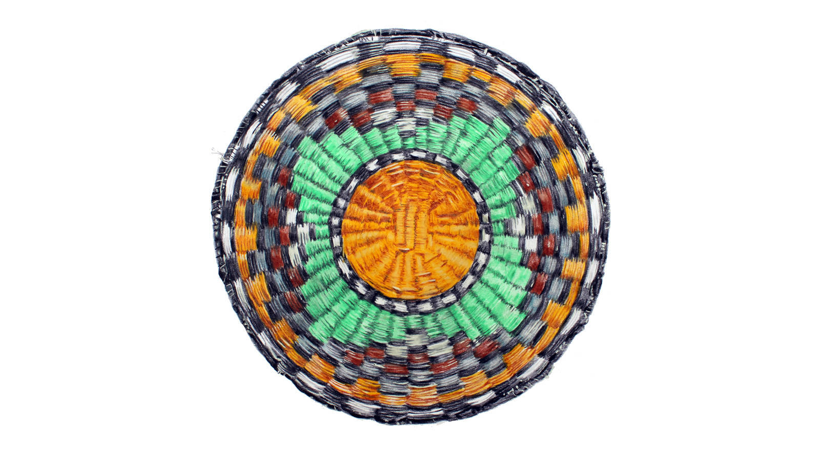 """<h3 style=""""text-align: center; padding: 50px;""""><span class=""""text-Intro-style"""">A woven tray at Hubbell Trading Post. Known as Hopi plaques, these trays are made by Hopi women from Munqapi and the Third Mesa area. Colored pencil on paper, 2019.</span></h3>"""