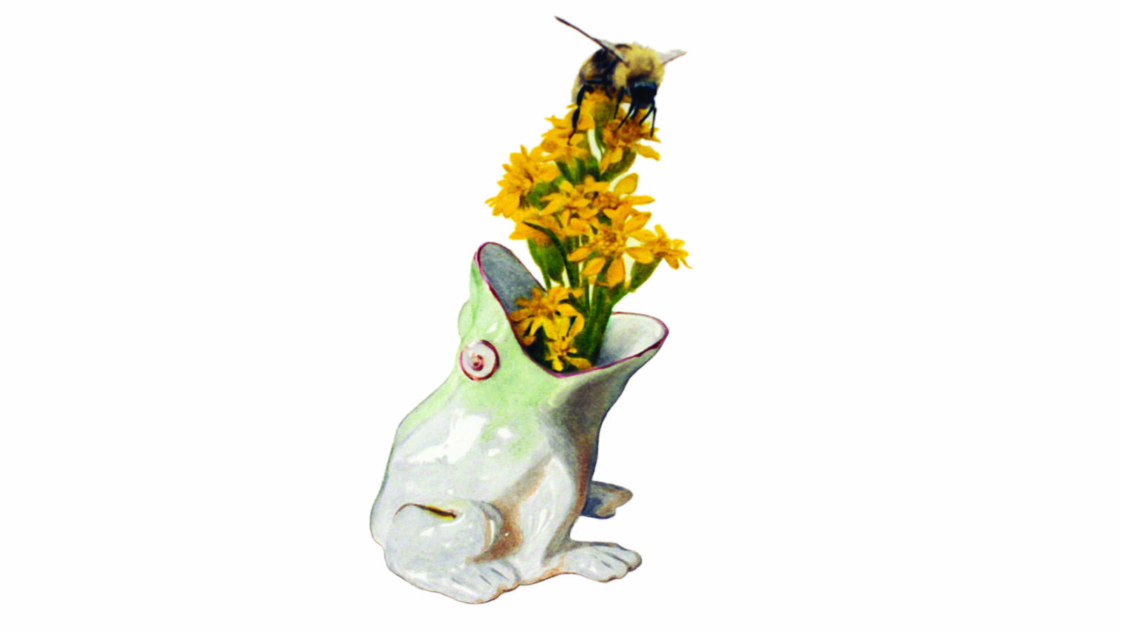 """<h3 style=""""text-align: center; padding: 50px;""""><span class=""""text-Intro-style"""">Heckel spotted the porcelain frog in a bedroom at Sagamore Hill National Historic Site in New York. (She paired it with goldenrod and a bee she saw in the garden.) The home of President Theodore Roosevelt from 1885 to 1919, Sagamore Hill was known as the """"summer White House"""" during Roosevelt's years in office. Colored pencil on paper, 2019.</span></h3>"""