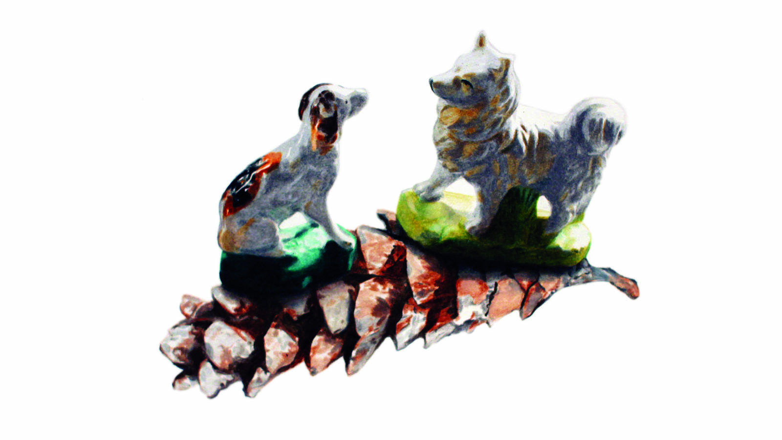 """<h3 style=""""text-align: center; padding: 50px;""""><span class=""""text-Intro-style"""">A coupling of elements (dog figurines and a pinecone) found in and around Theodore Roosevelt's home at Sagamore Hill National Historic Site. Colored pencil on paper, 2019.</span></h3>"""