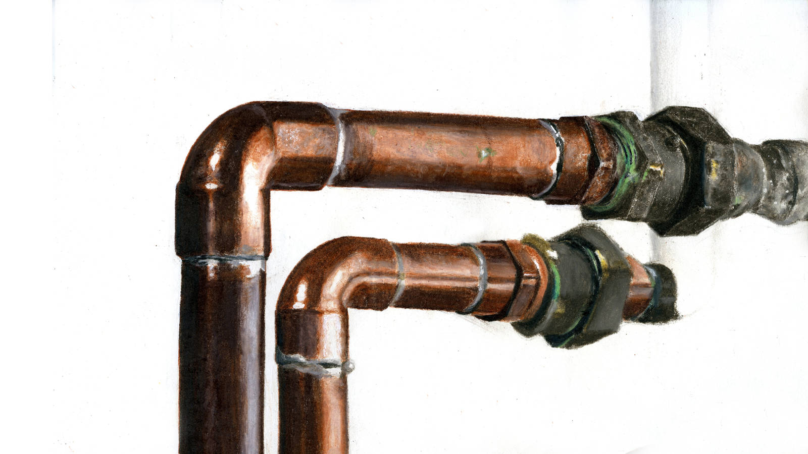 """<h3 style=""""text-align: center; padding: 50px;""""><span class=""""text-Intro-style"""">Copper pipes located in the caretaker's house at Weir Farm National Historic Site. Colored pencil on paper, 2016.</span></h3>"""