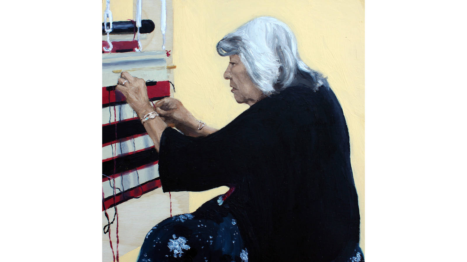 """<h3 style=""""text-align: center; padding: 50px;""""><span class=""""text-Intro-style"""">Ruby Hubbard, a Navajo weaver, demonstrates her craft at the Hubbell Trading Post National Historic Site. Oil on wood, 2019.</span></h3>"""