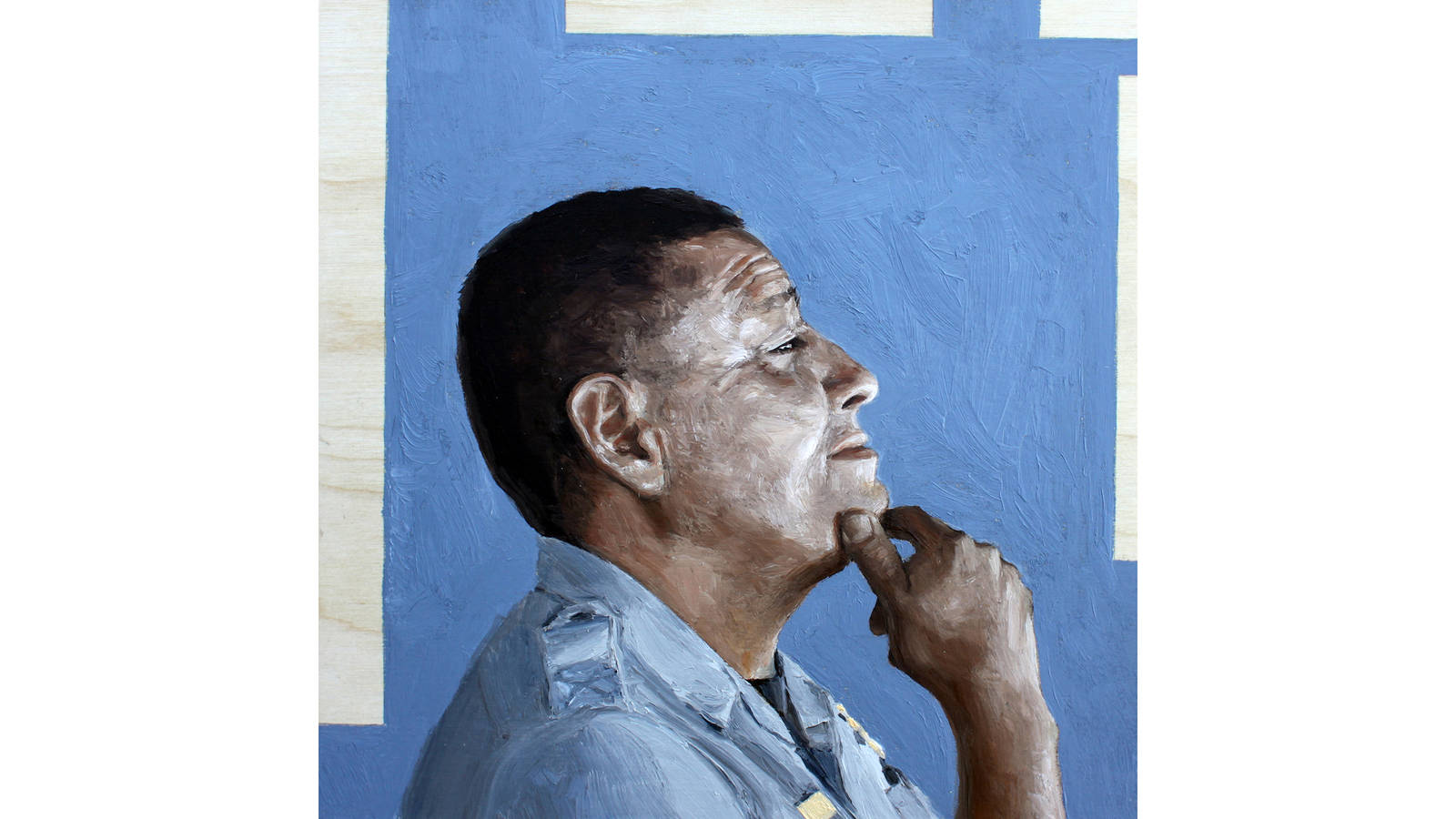 """<h3 style=""""text-align: center; padding: 50px;""""><span class=""""text-Intro-style"""">A 2019 oil-on-wood portrait of Alvis Burbank, a ranger at Hubbell Trading Post National Historic Site in Arizona, which is surrounded by the Navajo Nation.</span></h3>"""