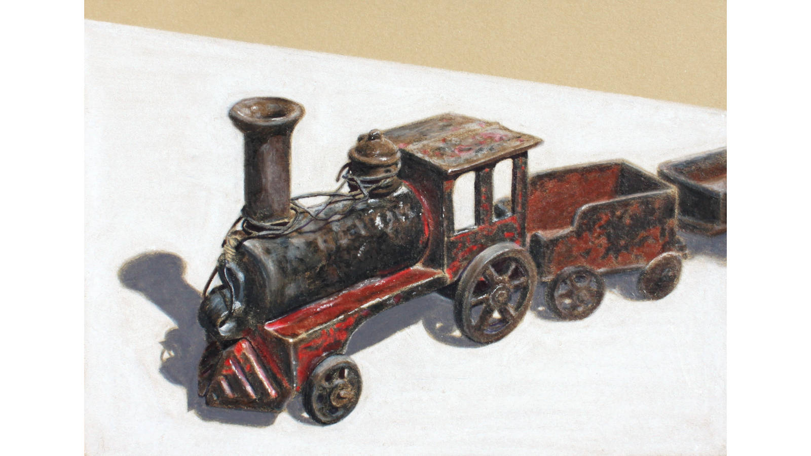 """<h3 style=""""text-align: center; padding: 50px;""""><span class=""""text-Intro-style"""">A colored pencil drawing of Herbert Hoover's boyhood train, completed in 2018. The train is part of the collection at the Herbert Hoover Presidential Library and Museum, which Heckel had access to during her residency at the Herbert Hoover National Historic Site in Iowa.</span></h3>"""