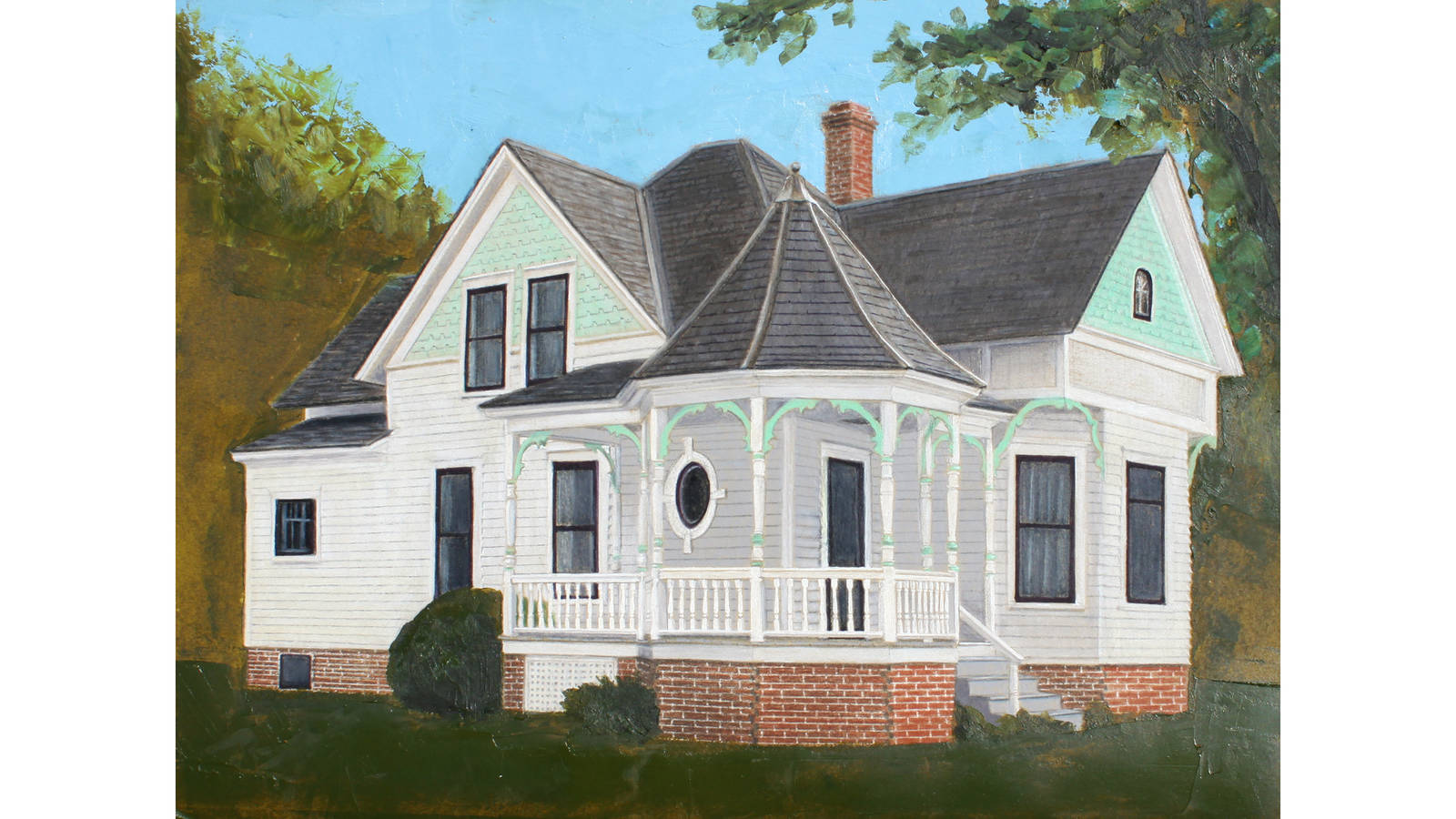 """<h3 style=""""text-align: center; padding: 50px;""""><span class=""""text-Intro-style"""">The C.E. Smith House at Herbert Hoover National Historic Site. Colored pencil and oil paint on paper, 2018.</span></h3>"""