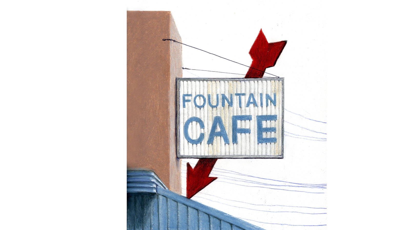 """<h3 style=""""text-align: center; padding: 50px;""""><span class=""""text-Intro-style"""">A vintage sign along Central Avenue in Hot Springs, Arkansas, the town that has been home to Hot Springs National Park for nearly 100 years. Colored pencil and ink on paper, 2016.</span></h3>"""