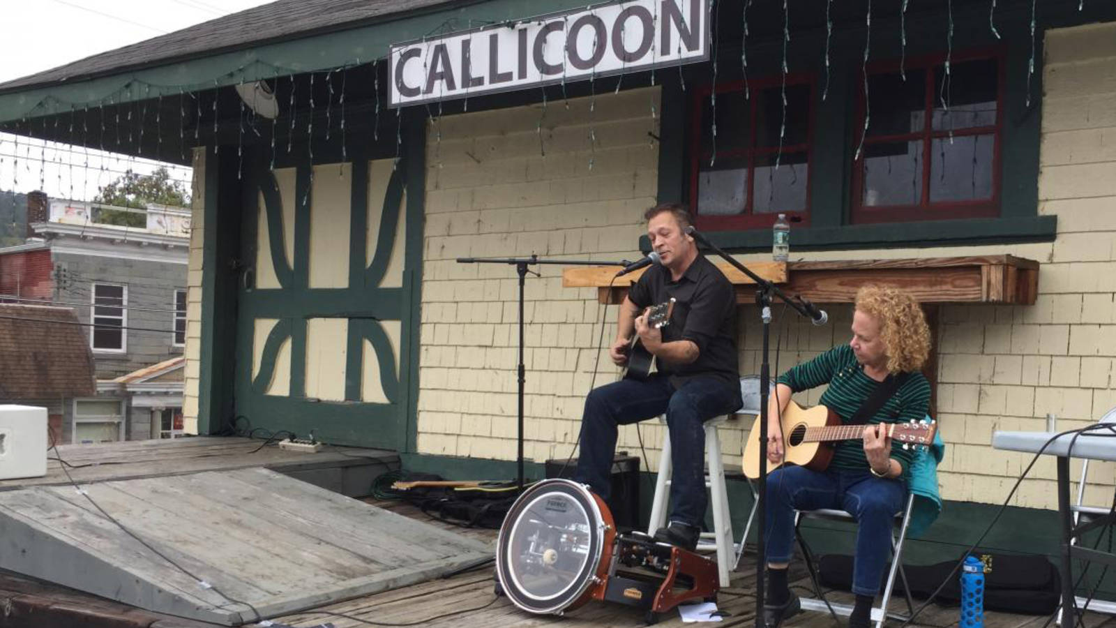 <p>Central New York Railroad has graciously allowed use of the Callicoon Depot's former loading dock as a stage for popular community events. Musicians Brewster Smith and Elizabeth Rose perform.</p>