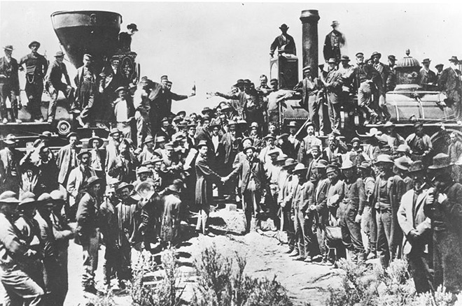 This 1869 photo by Andrew Russell is the  most famous representation of the original golden spike ceremony—though one important group is noticeably absent from the festivities.