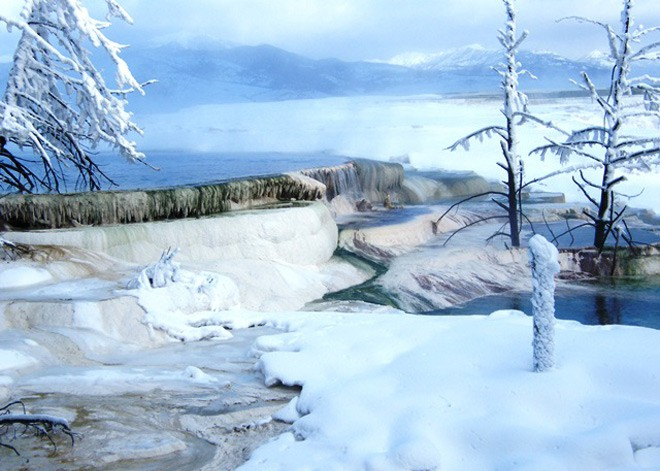 Mammoth Terraces in winter at Yellowstone National Park