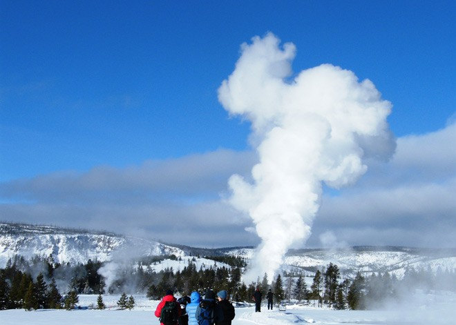 Visitors at Upper Geyser Basin in Yellowstone National Park