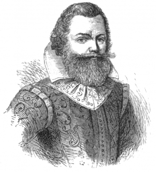 An 1876 portrait of Captain John Smith from the Century illustrated monthly magazine.