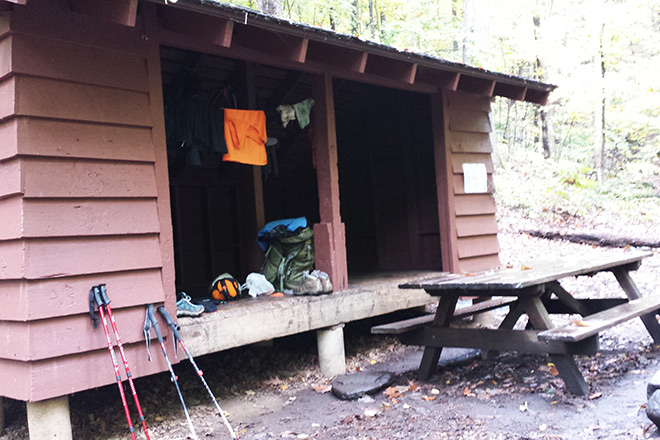 A typical shelter on the Appalachian Trail.