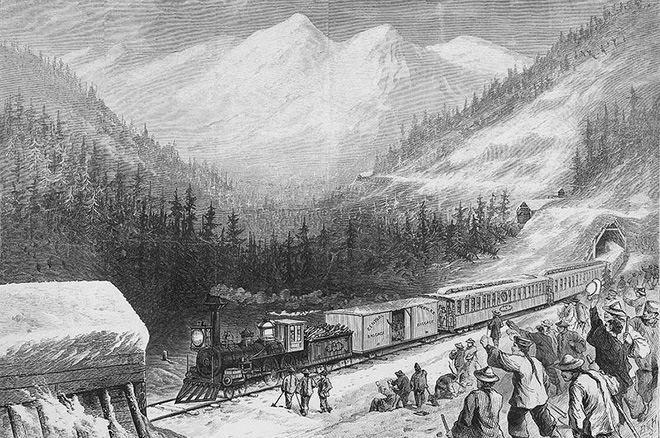 A 19th-century illustration of Chinese Workers in the Sierra Nevada region of California watching a train travel on the track they built.