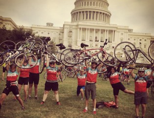 The 2013 Climate Ride team celebrates near the finish line in Washington, D.C.