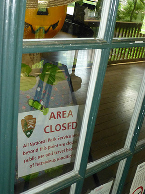 A sign at the Kittatinny Point Visitor Center at Delaware Water Gap National Recreation Area, closed due to sequester cuts.