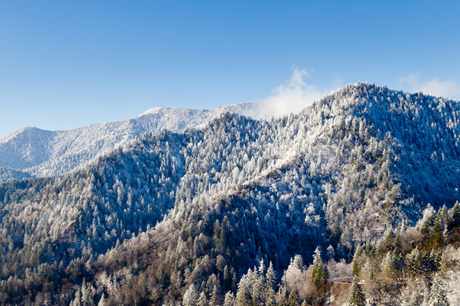 Great Smoky Mountain's Mount LeConte in the snow.