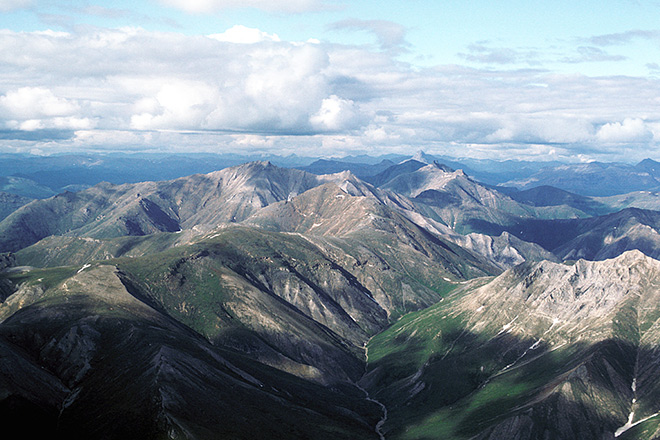 An aerial view of Gates of the Arctic National Park.