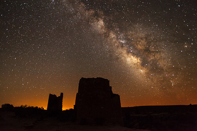 The Milky Way rises over Ancestral Puebloan masonry ruins of the Square Tower Group at Hovenweep National Monument. NPS photo by Jacob W. Frank.