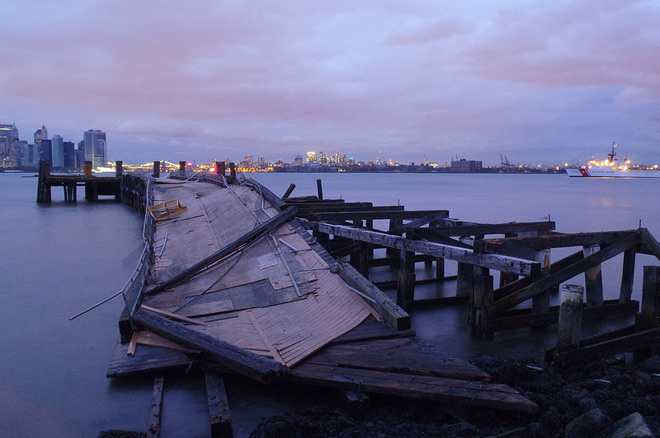 Damage caused by Superstorm Sandy to Liberty Island in New York.
