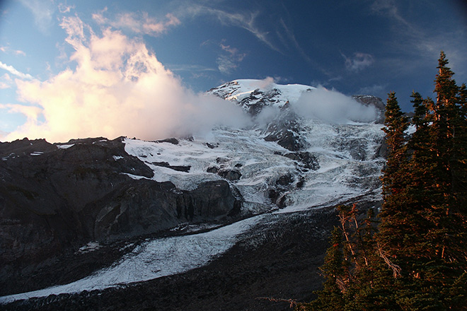Majestic Mount Rainier in winter.