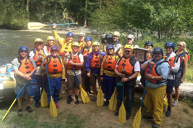 Staff from NPCA's Northwest Regional Office and members of the media prepare for their rafting trip on the newly restored Elwha River.