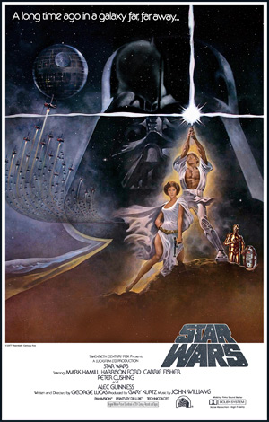 Maybe the galaxy wasn't that far away after all. The original 1977 Star Wars movie poster.