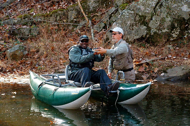 "Boaters enjoying the Moormans River with Thomas Jefferson Trout Unlimited President ""Chubby"" Damron, thanks to a new access trail. Photo courtesy of Therapeutic Adventures."