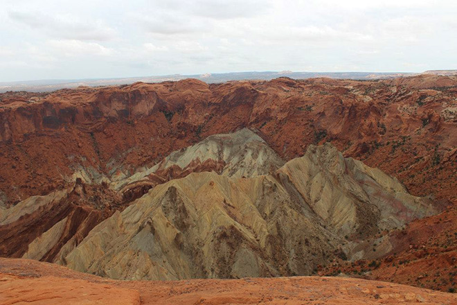 "Utah's ""belly button,"" the geological oddity known as Upheaval Dome."