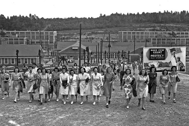 Women change shifts at an enrichment facility at Oak Ridge, Tennessee, circa 1945. This site would be included in a Manhattan Project National Historical Park. U.S. Army photo by Ed Westcott.