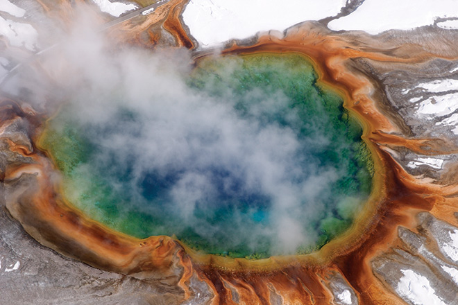 Yellowstone's Grand Prismatic Spring, Wyoming.