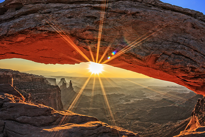 Mesa Arch in the Island in the Sky District of Canyonlands National Park, Utah.